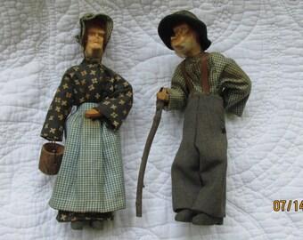 vintage hand carved wooden dolls