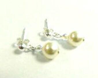 Hannah Earrings - Swarovski Pearl & Crystal on Sterling Silver