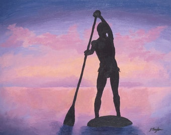 "SUP Art Print ~ SUP Poster ~ ""Stand Up Paddle Boarder at Sunset"" ~ Stand Up Paddle Art ~ SUP Painting Reproduction"