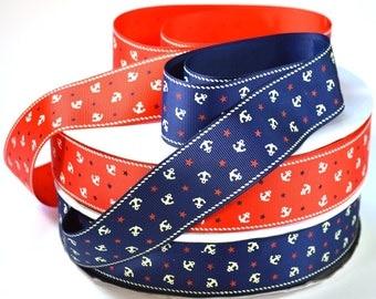 "1 1/2""  Anchor and Stars - Nautical Ribbon - Ptinted Grosgrain Ribbon"
