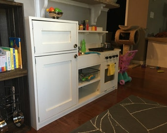 Handmade 1-Piece Play Kitchen: Fridge/Freezer, Sink, and Stove/Oven