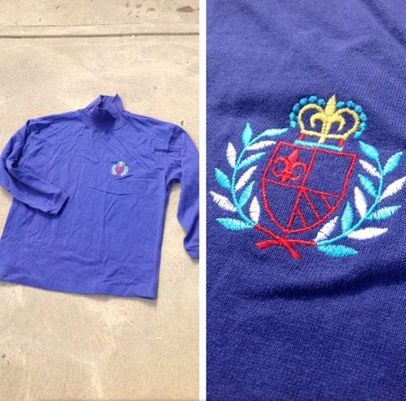 Vintage 80s oversize THIN purple sweatshirt // Embroidered logo // Elite logo // Turtleneck // Cool and comfy sweater