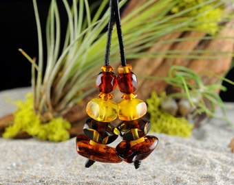 Baltic Amber Rope Leather Necklace Adjustable Length