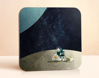 The Space Gardener Coaster | Space Gift | Kids Coaster | Gift for Him | Gift for Her | Gift For Kids | Wood Coasters | Drink Coasters