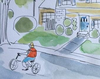 Original illustration, Bike Ride, watercolor and ink