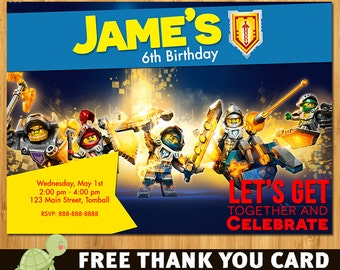 Lego Nexo Knights Invitation - free thank you card
