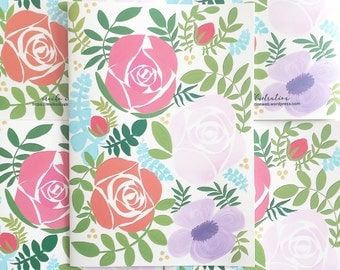 B5 Floral design notebooks (set of 2) JOURNAL, DIARY 花柄ノート2冊