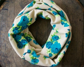Turquoise Floral Infinity Scarf