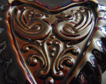 Vintage German Ceramic Baking Form~Heart~German Rustic~Wall Hanging~Bavarian Country Kitchen chic~German Souvenir~