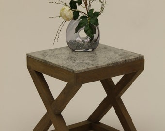 Gray Marble End Table