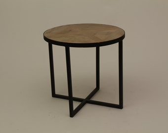 Wood and Metal End Table