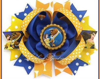 Beauty and the Beast Boutique Layered Hair Bow, Boutique Bow, Blue and Yellow Hair Bow, Polka Dots