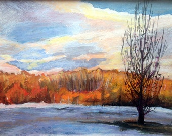 Later autumn lanscape. Original painting.