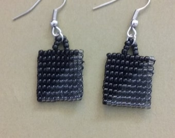 Black and Gray seed bead earrings