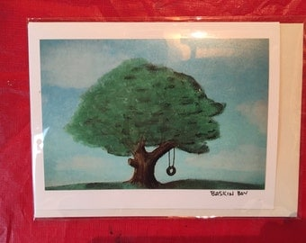 hand made greeting cards - frame-able art cards - tire swing
