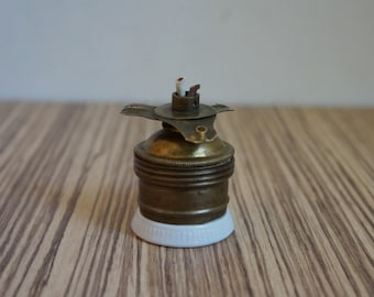 Lamp socket for E27 light bulb, white porcelain and brass with lampshade holder, vintage architectural salvage for restoration