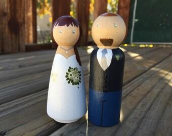 Wedding Cake Toppers - Custom Peg Dolls
