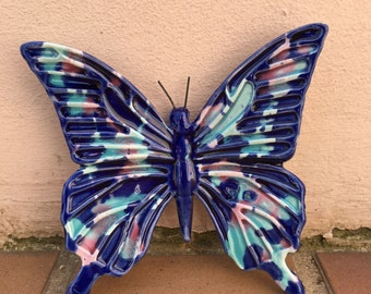 French BUTTERFLY WALL DECORATIVE provence moustier handmade 4