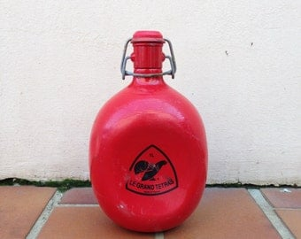 Vintage french metal-alu RED FLASK : LE grand tetras 0,75l
