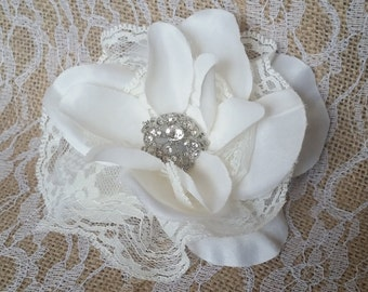 White Flower Fascinator with Lace