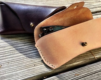 Hand sewn leather glasses case