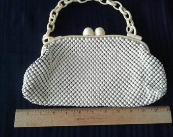 Vintage Whiting and Davis White Mesh and Bakelite Purse 1950's Handbag