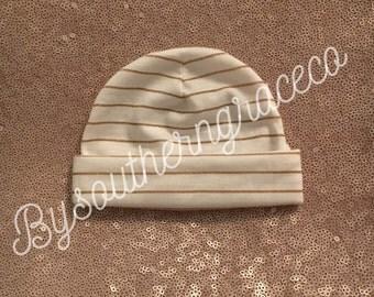 Gold Stripe Newborn Beanie/Hat/Infant Hat