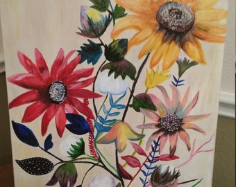 Southern Bouquet sunflowers, acrylic, canvas, floral, art, painting, original