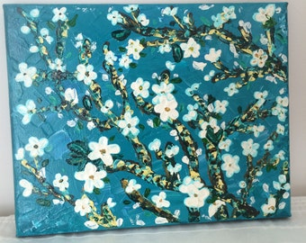 Turquoise and White Impasto Flowers 8x10 Canvas Inspired by Van Gogh