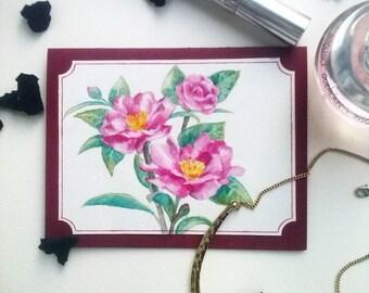 "Watercolor card ""Сamellia""."