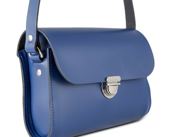 Blue Small Leather Crossbody/Shoulder Bag, Made in London