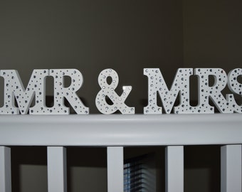 Mr & (and) Mrs Diamante Wooden Sign- wedding, Gift, We Can Match Your Theme