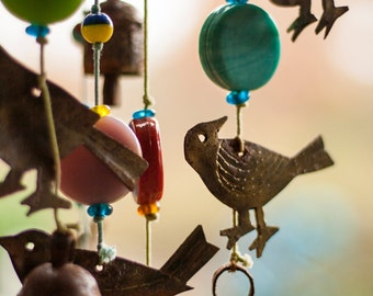 Wind Chimes: WALL ART Fine Art Photography Farm & Garden Decor Rustic Metal Blue Green Yellow Red Pink Color Beads Birds and Bells
