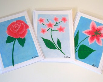 Pack of 3 Hand Painted Flower Cards and Envelopes, For Any Occasion - Free UK 1st Class Postage