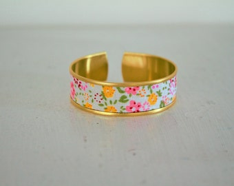 White fabric Cuff Bracelet with pink flowers