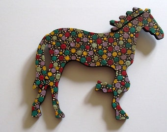 "dotty-the folk art horse, painted with acrylics on wood, black base color, ready to hang, 5-1/2"" wide x 6-1/4"" long x 1/4"" thick"