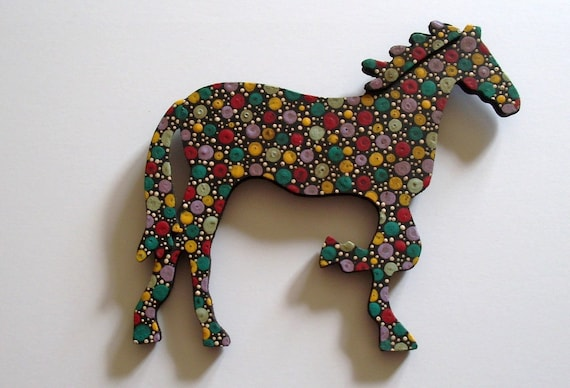 "carnival-the folk art horse, painted with acrylics on wood, black base color, ready to hang, 5-1/2"" wide x 6-1/4"" long x 1/4"" thick"