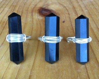 Black Onyx Crystal Wire Wrapped Ring