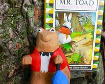 Wood Carving Toad Thornton W. Burgess Book Vintage Old Mr. Toad Hand Carved Animal Waterbased Paint Basswood