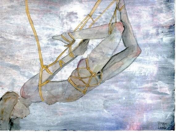 Original Shibari Watercolor and Gold Ink Painting