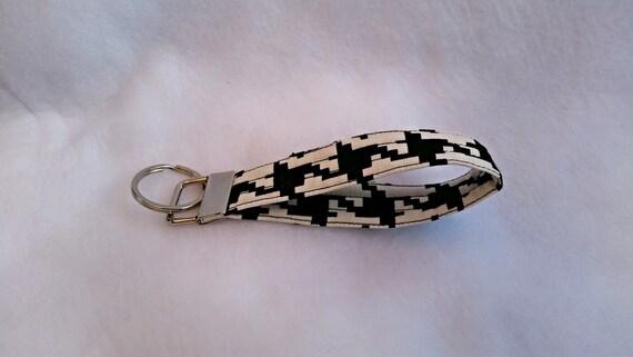 Black and white key fob,key chain,wristlet