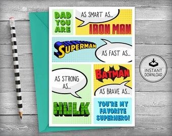 Superhero Birthday Card | Dad Birthday Cards | Father Birthday Card | Father's Day Cards | Father's Day | Printable Cards | Instant Download