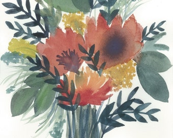 Poppies. 8 in x 10 in Watercolor print.
