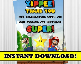 Super Mario Birthday Thank You Card, Mario and Luigi Party Thank You Card, Printable, Digital, Instant Download