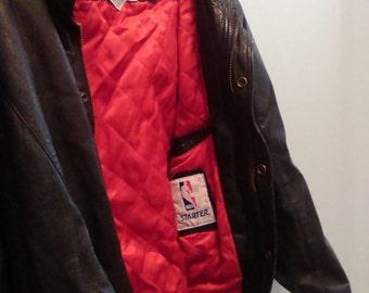 Vintage 1990's Starter Brand Leather Chicago Bulls Jacket