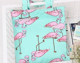 Cotton Canvas Shopping Tote Eco Friendly Bag Flamingoes