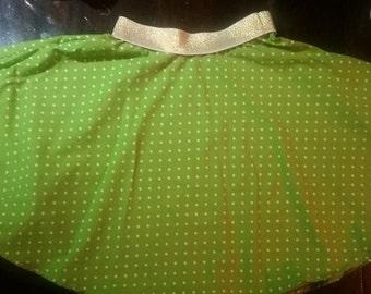Green with white polka-dot skirt