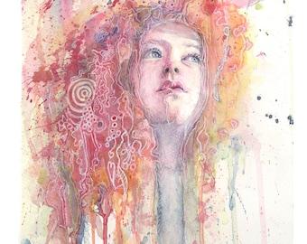 Original Hand Painted Watercolour Portrait