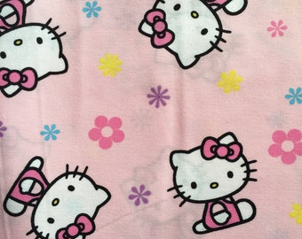 Hello Kitty Pink Fabric -- Sanrio Cotton Fabric Girl Nursery