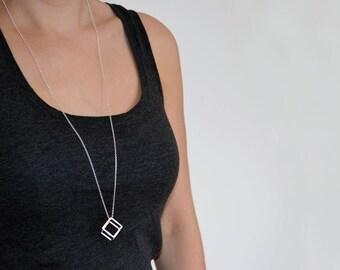 Sterling Silver 3D Cube Necklace | 3D Cube Pendant | Geometric Pendant Necklace